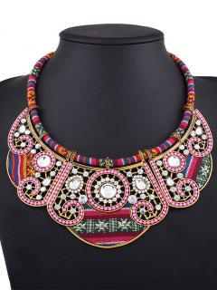 Rhinestone Floral Faux Collar Necklace - Golden