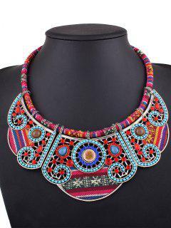 Rhinestone Blossom Faux Collar Necklace - Silver