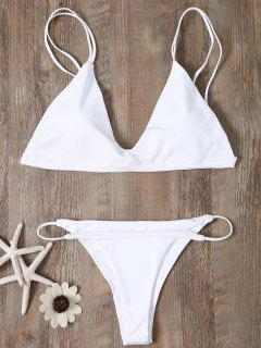 Low Waisted Spaghetti Straps Bikini Swimwear - White M