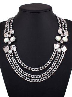 Alloy Rhinestone Geometric Chain Necklace - Silver
