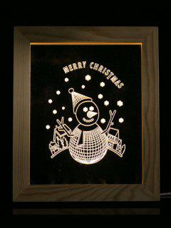 Merry Christmas Snowman Photo Frame LED Light - Transparent