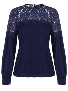 Lace Panel Tee - Purplish Blue S