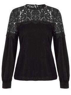 Lace Spliced Cut Out Blouse - Black S