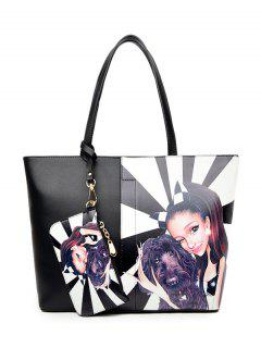 Painted Shoulder Bag With Painted Wristlet - White And Black