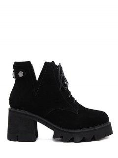 Slit Lace Up Chunky Heel Boots - Black 37