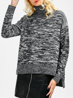 Heathered Turtleneck Boxy Sweater - Gris