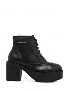 Engraving Plarform Chunky Heel Boots - Black 38