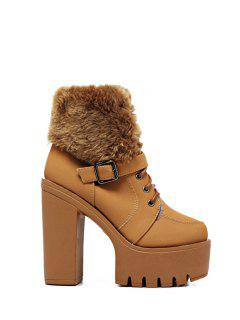 Faux Fur High Heel Short Boots - Light Brown 38