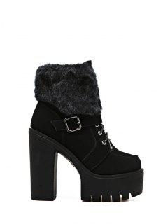 Faux Fur High Heel Short Boots - Black 37