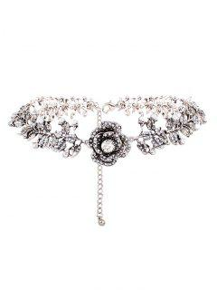 Collier Floral Rose Strass Perle Artificielle - Argent