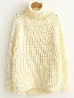 Turtleneck Chunky Pullover Sweater - Off-white
