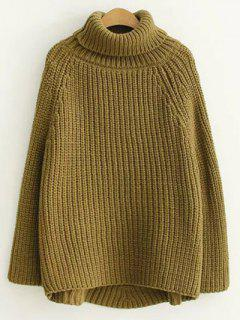 Turtleneck Chunky Pullover Sweater - Army Green