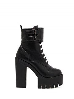 Buckle Straps High Heel Boots - Black 38