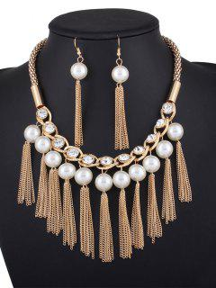 Chain Tassel Fake Pearl Necklace And Earrings - Golden