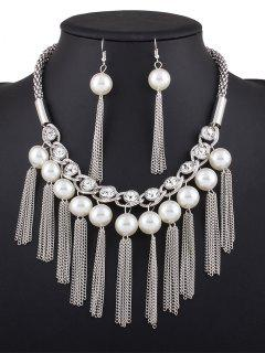 Chain Tassel Fake Pearl Necklace And Earrings - Silver