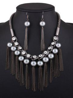 Chain Tassel Fake Pearl Necklace And Earrings - Black