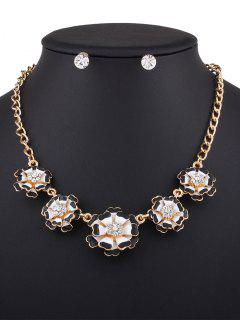 Rhinestoned Flower Necklace With Earrings - Black
