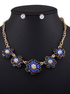 Rhinestoned Flower Necklace With Earrings - Blue