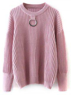 Metal Ring Ribbed Oversized Sweater - Pink