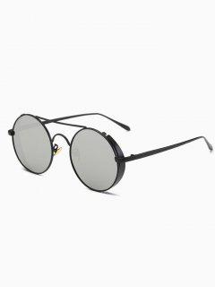 Crossbar Mirrored Round Sunglasses - Black