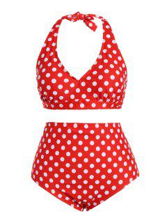 Polka Dot Halter Plus Size Vintage Bikini - Red Xl