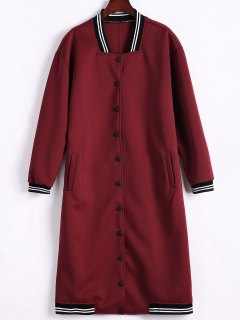Single-Breasted Baseball Coat - Wine Red S