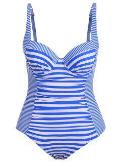 Stripes Underwire Plus Size Swimwear One Piece - Stripe 3xl