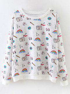 Cartoon Patterned Pullover Sweatshirt - Light Gray S