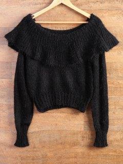 Flounced Fuzzy High-Low Sweater - Black