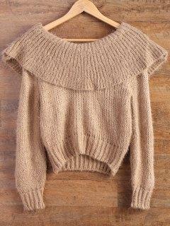 Flounced Fuzzy High-Low Sweater - Camel