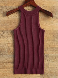 Vest Ribbed Sweater - Wine Red