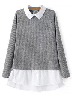 Raglan-Ärmel Shirt Neck Panel-Jumper - Grau S