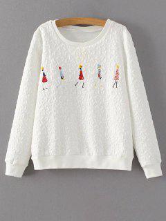 Sweatshirt De Imprimé Dessin Animé à  Manches Longues  - Blanc S