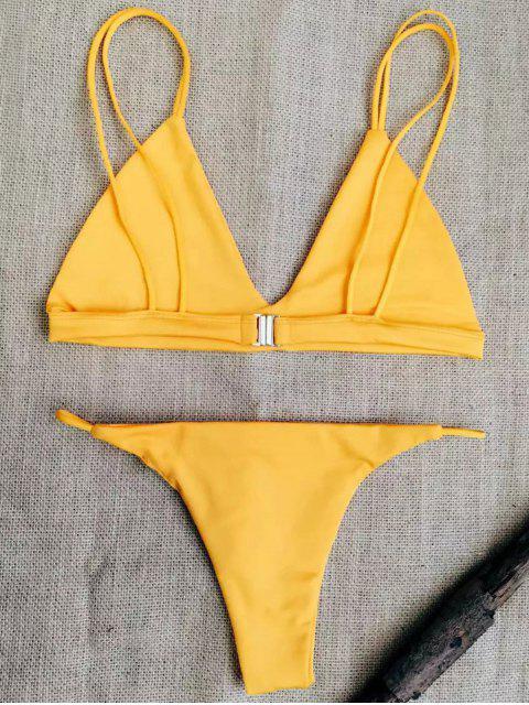 women's Low Waisted Spaghetti Straps Bikini Swimwear - SWEET ORANGE XL Mobile