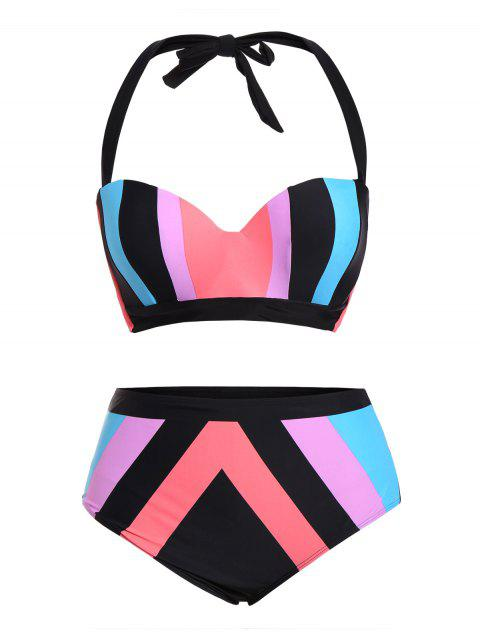 women Color Block Halter Plus Size Bikini - COLORMIX 4XL Mobile