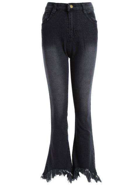 Pantalones Mezclilla Dobladillo Deshilachados Corte de Bota - Negro S Mobile