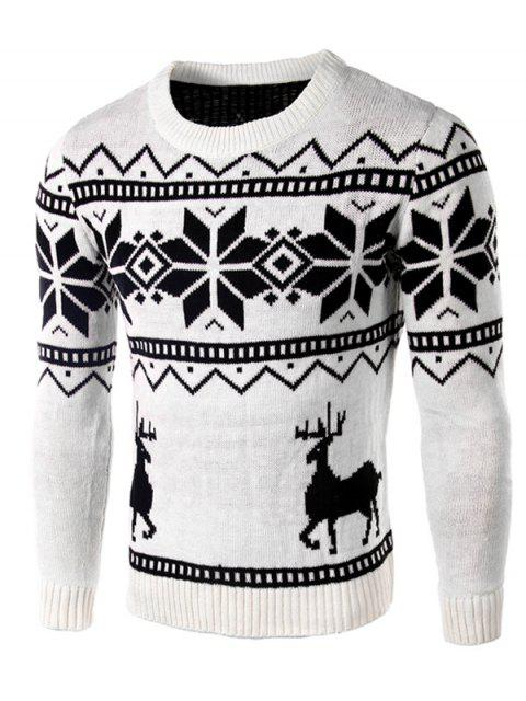 Deer und Schneeflocke-Muster lange Hülsen-Strickjacke - Weiß M Mobile