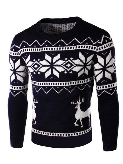 shops Deer and Snowflake Pattern Christmas Sweater - CADETBLUE XL Mobile