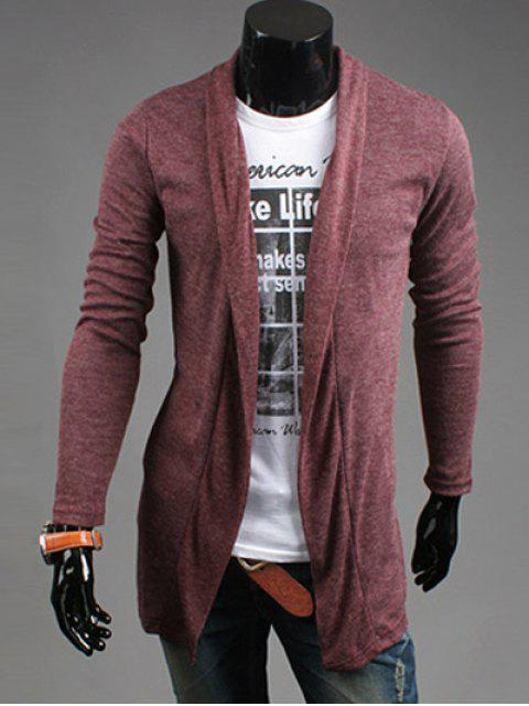 sale Slim Fit Shawl Collar Open Front Cardigan - WINE RED L Mobile