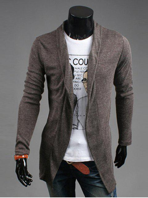 online Slim Fit Shawl Collar Open Front Cardigan - COFFEE M Mobile