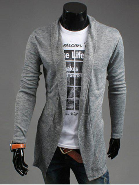 latest Slim Fit Shawl Collar Open Front Cardigan - LIGHT GRAY M Mobile