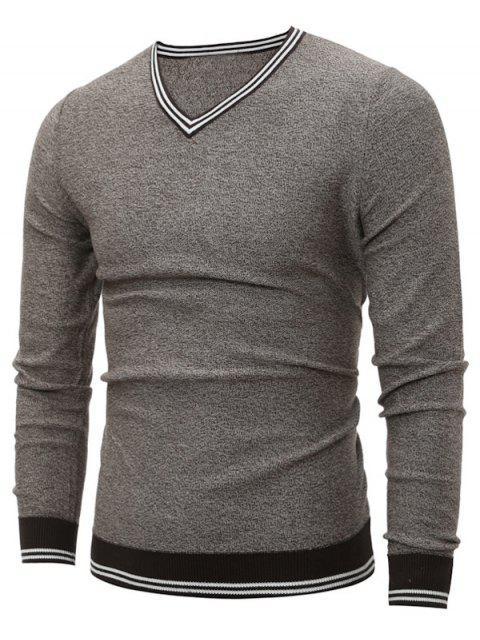 fashion V Neck Striped Pullover Cricket Sweater - LIGHT GRAY L Mobile
