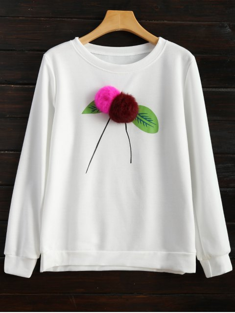 hot Pom Pom Sweatshirt - WHITE M Mobile