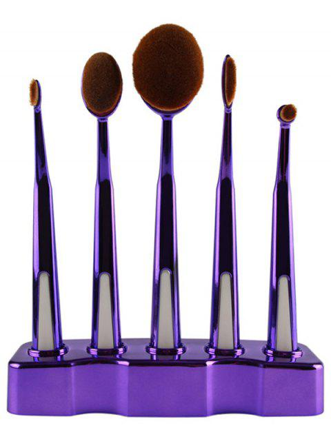 women's 5 Pcs Nylon Oval Toothbrush Makeup Brushes Set with Brush Stand - PURPLE  Mobile