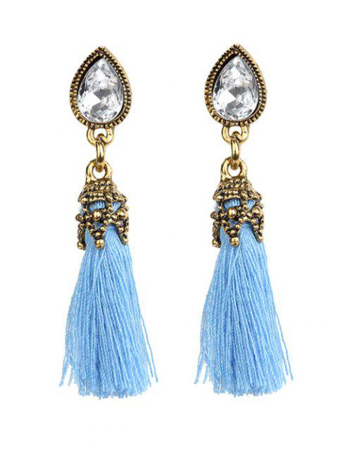 shop Rhinestone Tassel Water Drop Earrings - BLUE  Mobile