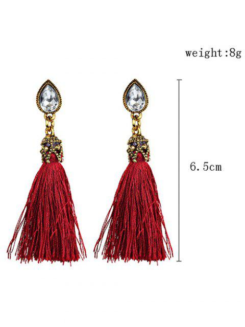 shops Rhinestone Tassel Water Drop Earrings - RED  Mobile
