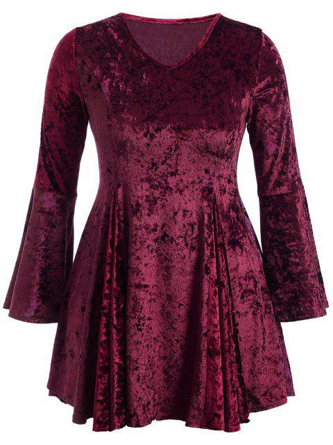 Fit und Flare Kleid aus Samt mit Glockenhülse und  V-Ausschnitt - Burgund 2XL Mobile