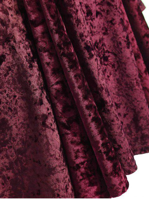 outfits Bell Sleeve V Neck Fit and Flare Velvet Dress - BURGUNDY 3XL Mobile
