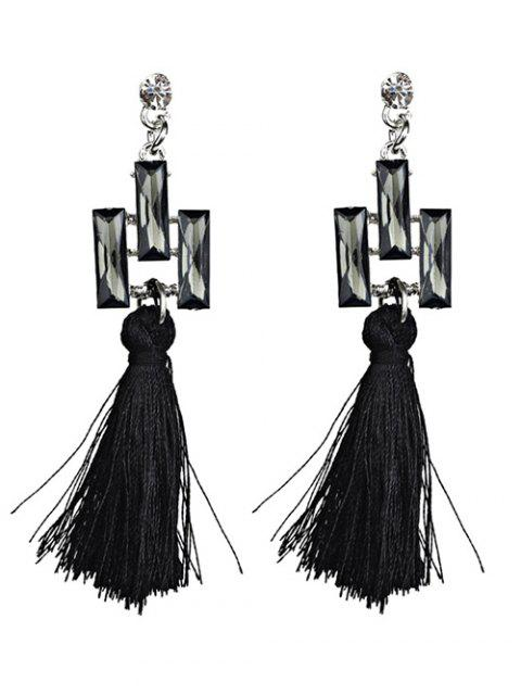fashion Tassel Faux Crystal Dangle Earrings -   Mobile