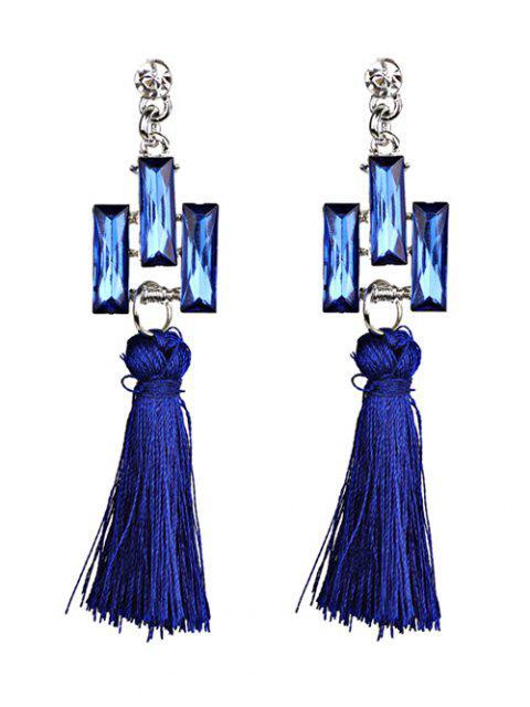 chic Tassel Faux Crystal Dangle Earrings -   Mobile